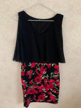 赤花柄 XL キャバドレス ストレッチタイトミニ シフォン
