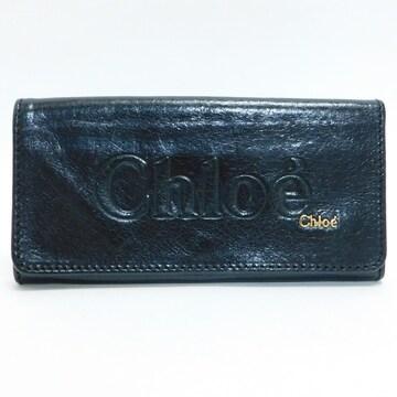 美品Chloeクロエ 二つ折り長財布 レザー 黒 良品 正規品