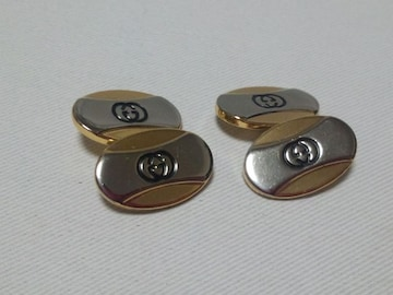 正規 廃盤 GUCCI グッチ オーバルGGロゴコンビチェーンカフス カフリンクス ボタン