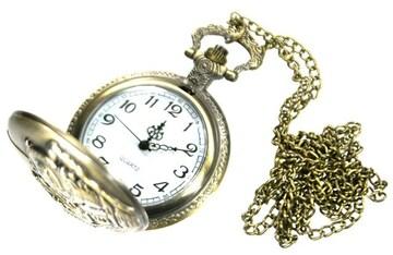 蒸気機関車柄 懐中時計 ネックレス アンティークゴールド