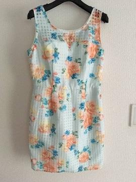 リエンダ rienda 花柄 フラワー コクーン タンクトップ ミニ ワンピース スカート