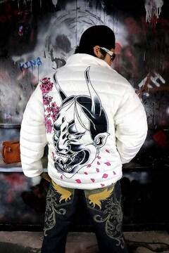 般若 桜 中綿 ジャケット 白 ヤクザ オラオラ メンズ 服 上着 和柄 136■L