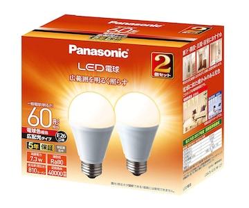 LED電球 口金直径26mm 電球60W形相当 電球色相当(7.3W)