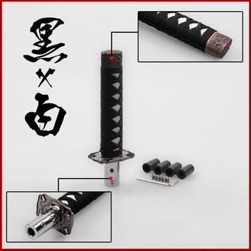 �溺 インパクト抜群 日本刀柄型 シフトノブ ショートタイプ/黒×白
