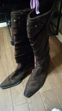 ★スエードタイプ オシャレデザイン ロング ブーツ ブラウン系★