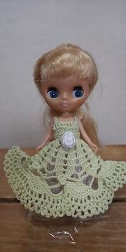 プチブライス薄緑のレース編みドレス