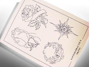 【刺青・タトゥー】練習用スキン【 薔薇 】1枚