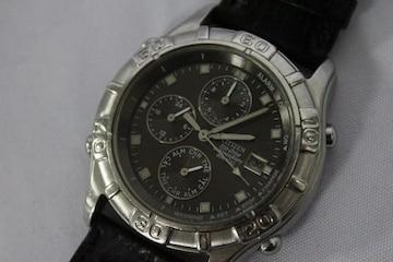 シチズン☆エコドライブ クロノグラフメンズ腕時計 0870