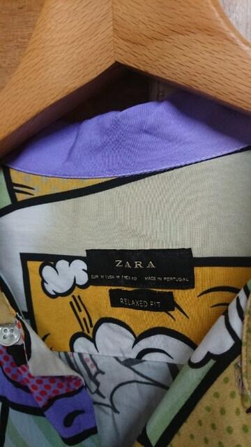 ZARA MAN RELAXED FIT ザラ 半袖 シャツ マルチ 総柄 レーヨン < ブランドの