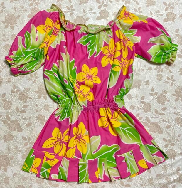 ハンドメイド ハワイアン生地 ワンピース < 女性ファッションの
