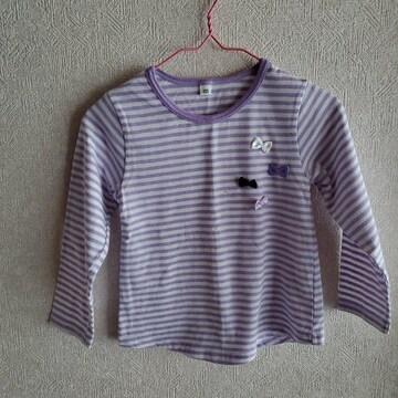 紫に白ボーダー、リボンつき長袖Tシャツ100