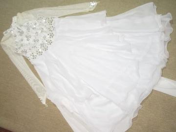 キラキラスパンコール*ロング丈ドレスワンピース(ホワイト系)