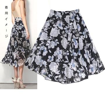 新品[7996]4L-5L★黒花柄シフォンレースのミモレ丈スカート
