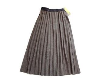 新品 khaki koji ラメ入り 茶 プリーツ スカート ミモレ丈