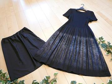 【新品】5953【L】日本製 桐生織プリーツ ワンピース 黒 光沢