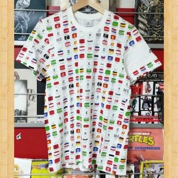 adidas アディダス 総柄Tシャツ ホワイト M 美品