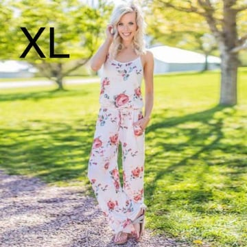 新品☆花柄キレイ♪オールインワン ホワイト XL
