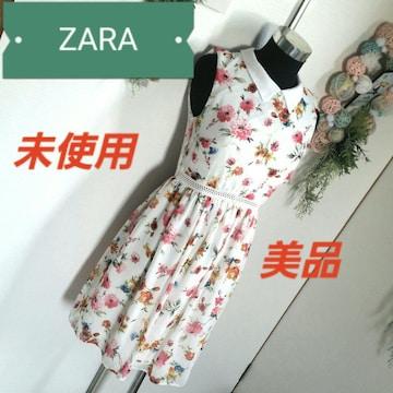 ZARA ワンピース 花柄 ノースリーブ
