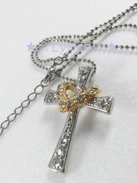 GOLDオープンHeart☆Crossネックレス♪送料込み