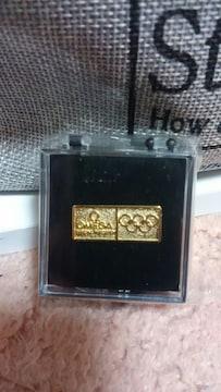 オメガ東京オリンピック 公式時計記念ピンズ 未開封 新品非売品ゴールドカラー
