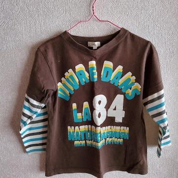 茶色に水色、白、黒ボーダー袖の長袖Tシャツ110