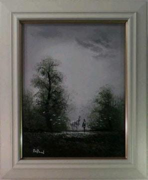 絵画 油彩 ベルファンド『人物と馬のいる風景』真作保証