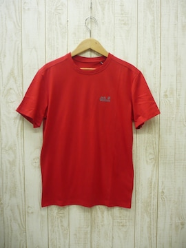 即決☆ジャックウルフスキン 速乾吸汗Tシャツ RED/L  スポーツ デイリー