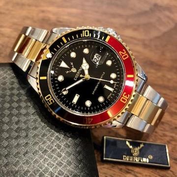 最安値!ロレックス・サブマリーナタイプ◇クォーツ メタル腕時計・黒×赤コンビ