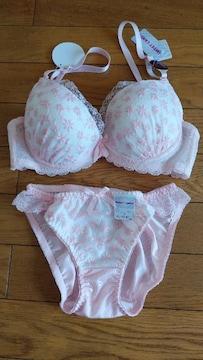 白×ピンク花柄ブラショーツセット レースリボンフリル