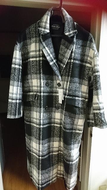 チェック柄ロングコート  < 女性ファッションの