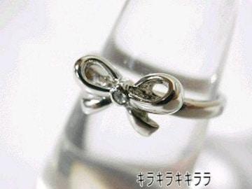 《New》Love★ナチュラル★メタル1石*リボンリング/指輪�J号