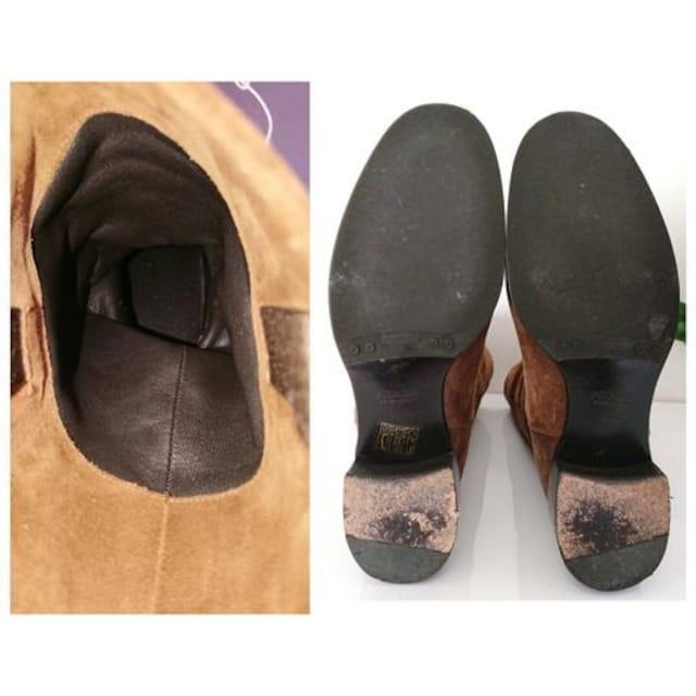 正規 PRADA スウェード レザー ブーツ キャメル ブラウン 良品 < ブランドの