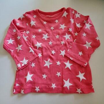 こいピンクに白の星柄、長袖Tシャツ95