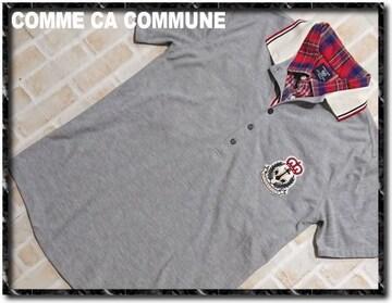 コムサコミューン 重ね着風半袖ポロシャツ グレー