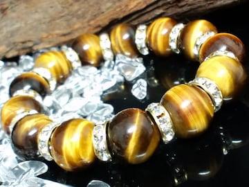 天然石☆タイガーアイ虎目石14ミリx金ロンデル数珠