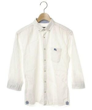 ☆バーバリー ブラックレーベル ホース刺繍 7分袖シャツ/メンズ/2☆白