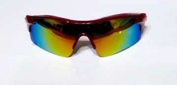 残1点690円★人気スポーツサングラス UV400 赤ミラー