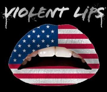 1g0)ViolentLipsバイオレントリップスアメリカ国旗タトゥーシールB系セレブダンス唇