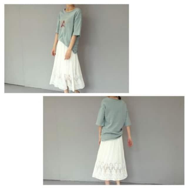 上品レーススカート レディース 春夏 シフォン フレアースカート ボトムス ブラック/ホワイト < 女性ファッションの