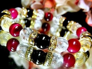 オニキス§ピンクタイガーアイ§トルネード水晶8ミリ数珠