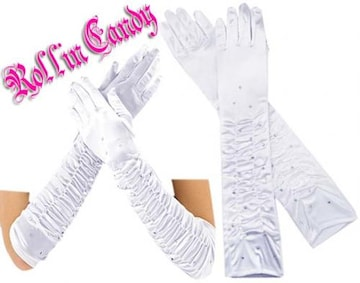76G)ラインストーンサテンロンググローブ白ホワイトウェディング結婚式ステージダンス衣装