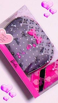 ★送料無料★新品★バービー★Barbie★グレー&濃ピンク★ポーチセット♪
