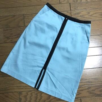 ローラアシュレイ 水色×黒ブラック バイカラー膝丈スカート