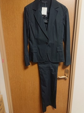 アンタイトル昨季新品黒ピンストストレッチパンツスーツ大きいサイズ4213号11号卒入学