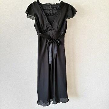 黒ドレス 9AR M程度 レイヤード風 裏地付き ペチコート内蔵 ブラック ウォッシャブル