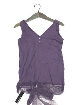 新品〈デザインノースリーブ〉裾レースリボン(パープル)タグ付