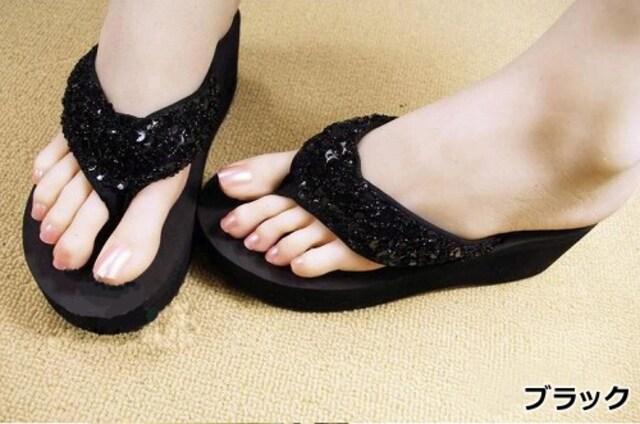 Y2222即決 新品 ビーチサンダル 黒 24.5 プールサイド R&E GU 好きに < 女性ファッションの