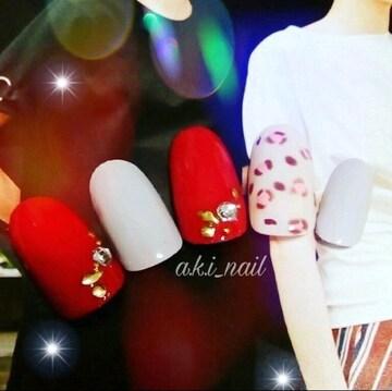 ジェルネイルチップ☆付け爪~ピンクひょう柄×グレー、レッド