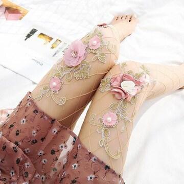 新品[8174]ピンク花モチーフ◎網タイツ/ストッキング/メッシュ/ロリータ