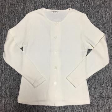 オフホワイト シンプルな長袖カーディガン Mサイズ